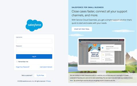 Screenshot of Login Page salesforce.com - Login | Salesforce - captured June 29, 2018