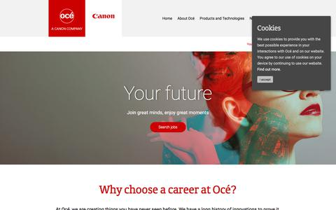 Screenshot of Jobs Page oce.com - Careers at Océ - captured Oct. 25, 2017