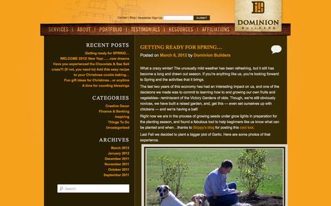 Screenshot of Blog dominionbuildersinc.com - Blog | Dominion Builders - captured Sept. 30, 2014