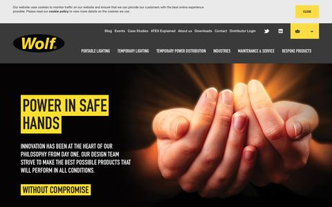 Screenshot of Home Page wolf-safety.co.uk - Hazardous Area Lighting - Portable & Temporary | Wolf Safety Lamp Company - captured Nov. 12, 2017