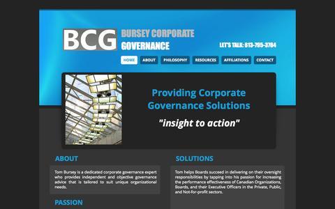 Screenshot of Home Page tombursey.com - Tom Bursey Corporate Governance - captured Oct. 5, 2014