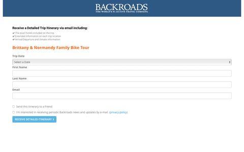 Screenshot of Landing Page backroads.com - MyBackroads - Detailed Itinerary - captured May 5, 2016