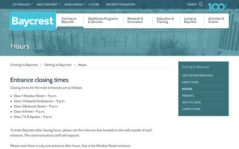 Screenshot of Hours Page baycrest.org - Baycrest Centre - Hours - captured Aug. 1, 2018