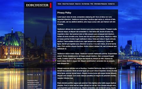 Screenshot of Privacy Page dorchestergrm.com - Privacy Policy | Dorchester Ground Rent Management - - captured Sept. 30, 2014