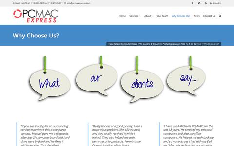 Screenshot of Testimonials Page pcmacexpress.com - Best Computer Repair Services / Customer Reviews / PcMacExpress.com - captured July 9, 2016