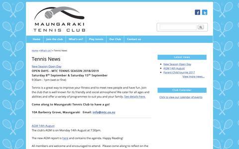 Screenshot of Press Page mtc.co.nz - Tennis News | Maungaraki Tennis Club - captured Oct. 17, 2018