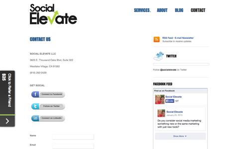Screenshot of Contact Page socialelevate.com - Social Elevate Contact | Social Elevate - captured Oct. 7, 2014