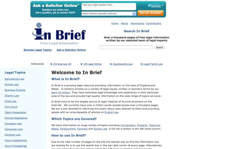 Screenshot of Home Page inbrief.co.uk - In Brief: The Free Legal Information Site - captured Sept. 24, 2014