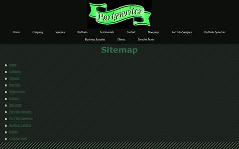 Screenshot of Site Map Page partywriter.com - Partywriter is dedicated to help you write the best speech, toast, poem, testimonial or personalized message. - Partywriter - captured Sept. 27, 2018