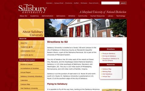 Screenshot of Maps & Directions Page salisbury.edu - Salisbury University - About Salisbury University - Directions to SU - captured Jan. 19, 2016