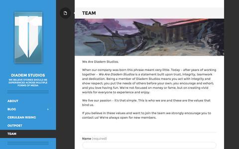 Screenshot of Team Page diademstudios.com - Diadem Studios - Team - captured Aug. 1, 2016