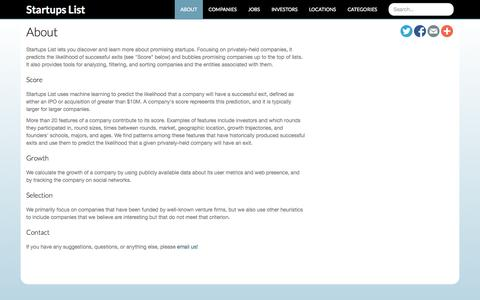 Screenshot of About Page startupslist.co - Startups List   Discover promising startups - captured Nov. 2, 2014
