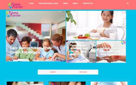 Screenshot of Home Page betacenter.org - Informasi Seputar Edukasi, Kesehatan Ibu & Anak di Indonesia - captured Oct. 4, 2018