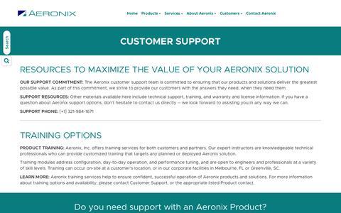 Screenshot of Support Page aeronix.com - Aeronix Customer Support - captured July 29, 2018