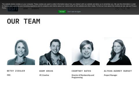 Screenshot of Team Page 1871.com - Our Team - 1871 - captured Feb. 10, 2020