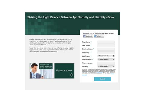 Screenshot of Landing Page ca.com - Mobile APIs - Striking the Right Balance Between App Security and Usability eBook - captured Sept. 14, 2018