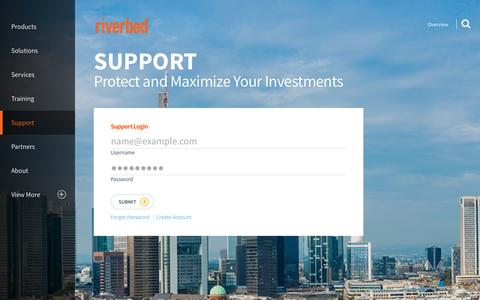 Screenshot of Trial Page riverbed.com - Riverbed Support – Riverbed Help Overview | Riverbed - captured Nov. 9, 2016