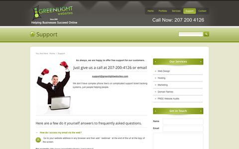 Screenshot of Support Page greenlightwebsites.com - Greenlight Websites Maine Web Support, Designers, Website Hosting, Web Marketing and SEO, Maine, ME, Portland, Biddeford, Saco, Kennebunk - captured Sept. 30, 2014