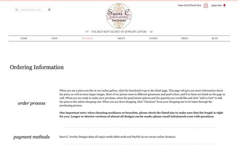 Screenshot of FAQ Page saoric.com - Saori C. Jewelry Designs : Ordering - captured Nov. 19, 2016