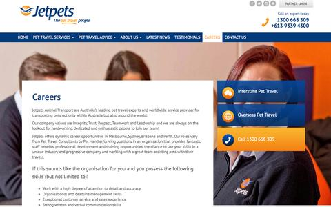 Screenshot of Jobs Page jetpets.com.au - Careers - Jetpets - captured Nov. 14, 2015