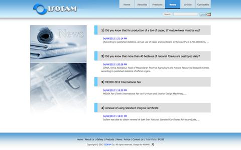 Screenshot of Press Page isofam.ir - ISOFAM © News - captured Sept. 30, 2014