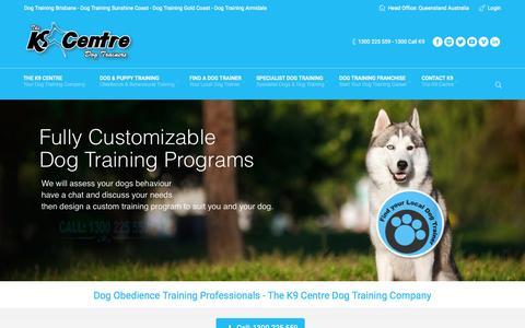 Screenshot of Home Page k9centre.com.au - Dog Training Brisbane, Sunshine Coast, Gold Coast. The K9 Centre Your No1 Dog Training School. - captured Aug. 15, 2015