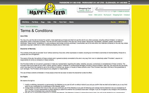 Screenshot of Terms Page happyfeed.co.za - Terms & Conditions - captured Sept. 30, 2014