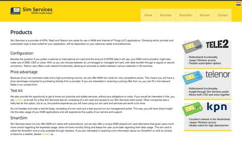 Screenshot of Products Page simservices.com - Sim Services   Activities   Products - captured Sept. 30, 2014