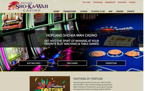 Screenshot of Home Page shokawah.com - Hopland Sho-Ka-Wah Casino | The Bay Area�s Best Casino - captured Nov. 3, 2015