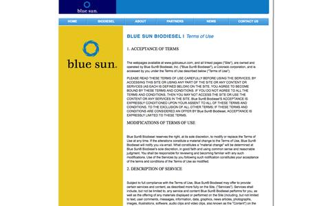 Screenshot of Terms Page gobluesun.com - Terms of Use - Blue Sun Biodiesel - captured Oct. 26, 2014