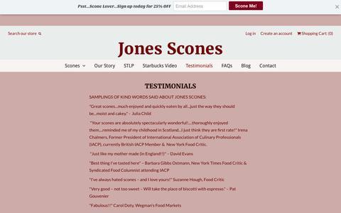 Screenshot of Testimonials Page jonesscones.com - Testimonials | Jones Scones - captured Nov. 27, 2016