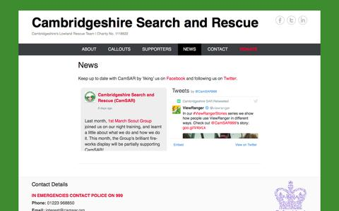Screenshot of Press Page camsar.org - News | Cambridgeshire Search and Rescue - captured Oct. 19, 2016