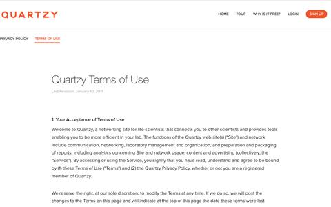Screenshot of Terms Page quartzy.com - Quartzy - The free and easy way to manage your lab inventory, order requests, documents, and shared equipment. - captured Sept. 17, 2014