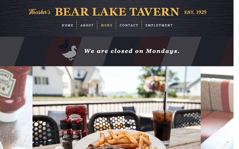 Screenshot of Menu Page bltmuskegon.com - Thrasher's Bear Lake Tavern | Menu - captured Dec. 31, 2016