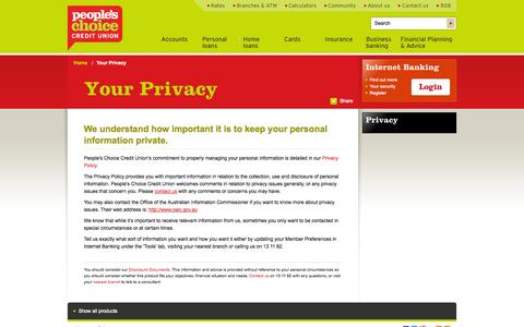 Screenshot of Privacy Page peopleschoicecu.com.au - Your Privacy - People's Choice Credit Union - captured Sept. 25, 2014