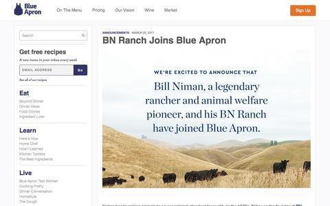 Screenshot of blueapron.com - BN Ranch Joins Blue Apron | Blue Apron Blog - captured March 23, 2017