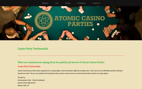 Screenshot of Testimonials Page atomiccasinoparties.com - Testimonials — Atomic Casino Parties - captured May 31, 2017