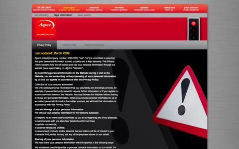 Screenshot of Privacy Page apecbraking.co.uk - Apec Braking - captured Feb. 6, 2016