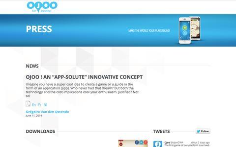Screenshot of Press Page ojoo.com - Press - OJOO - captured Sept. 23, 2014
