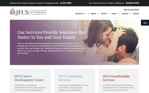 Screenshot of Services Page jfcspgh.org - Services | Jewish Family and Community Services of Pittsburgh - captured Oct. 13, 2018