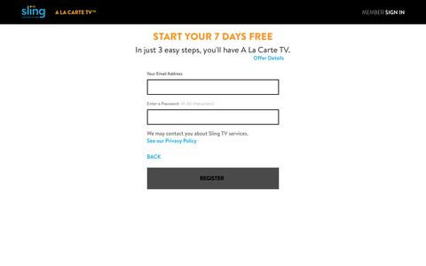 Screenshot of Signup Page sling.com - Sling TV - Watch Live TV Programming Any Time and Anywhere - captured Sept. 23, 2017