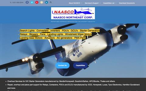 Screenshot of Home Page naasco.com - NAASCO Northeast Corp - REPAIR AND OVERHAUL SERVICES FOR THE AIRCRAFT INDUSTRY - captured Aug. 10, 2016