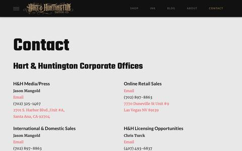 Screenshot of Contact Page hartandhuntington.com - Contact | Hart & Huntington - captured Jan. 19, 2018