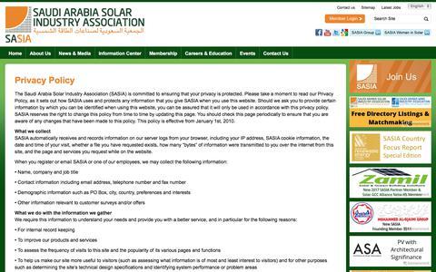 Screenshot of Privacy Page saudi-sia.com - Privacy Policy | Saudi Arabia Solar Industry Association - captured Oct. 24, 2017