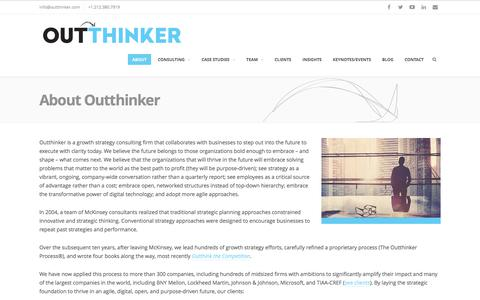 Screenshot of About Page outthinker.com - About Outthinker: Growth Strategy Consulting - captured June 14, 2017