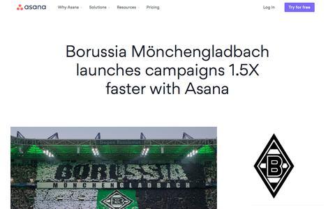 Screenshot of Case Studies Page asana.com - Asana case study - Borussia Mönchengladbach · Asana - captured Aug. 28, 2019