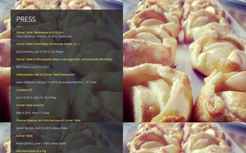 Screenshot of Press Page cornertablerestaurant.com - PRESS - captured Oct. 3, 2014