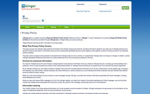 Screenshot of Privacy Page mginger.com - Privacy Policy - mGinger.com - captured Oct. 31, 2014
