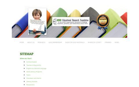 Screenshot of Site Map Page avko.org - Sitemap - Avko Educational Research Foundation - captured Oct. 7, 2017