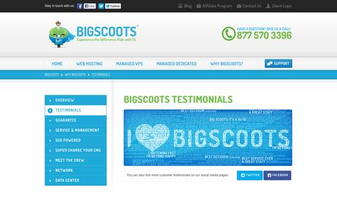 Screenshot of Testimonials Page bigscoots.com - BigScoots - Fully Managed VPS and Dedicated Server | Virtual Machine - captured Oct. 20, 2015